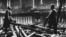 View of the interior of the Reichstag after the fire