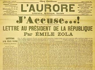 ژاکوز: من متهم میکنم! - صفحه اول روزنامهی اورر