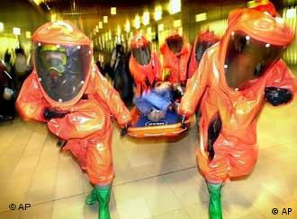 Rescue workers training for bioterror attack
