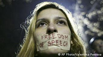 Putin besucht Bulgarien Jan 2008 , Protest einer Frau