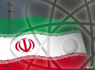 Atomic symbol with Iranian flag in background