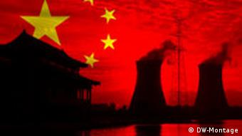 graphic of chinese flag, house and smokestacks