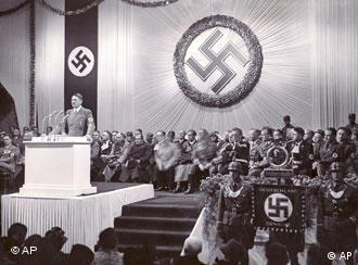 Hitler gives a speech on Dec. 2, 1938 in Reichenberg