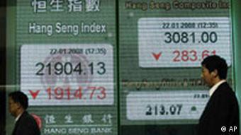 Kursverluste in Hong Kong Börseneinbrüche Asien Aktienindex