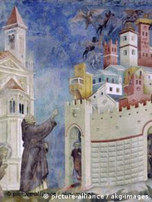 Giotto / St. Francis and the demons Giotto di Bondone c. 1266-1337. - 'St. Francis Frees the Town Arezzo of the Demons'. (Legenda maior VI,9). - Fresco, c. 1295/1300. Assisi, S. Francesco (Upper church, nave, 1st bay, north wall).