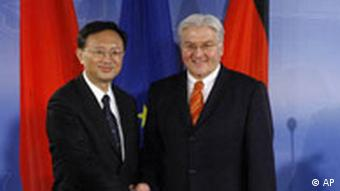 Germany's foreign minister Frank-Walter Steinmeier (right) greets his Chinese counterpart Yang Jiechi in Berlin in January 2008