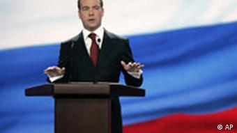 Russian First Deputy Prime Minister Dmitry Medvedev gestures as he gives a speech during a Kremlin-organized forum of civil society organizations in the Manezh exhibition center in Moscow, Tuesday, Jan. 22, 2008