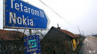Rumänien Deutschland Nokia Werk in Jucu Wegweiser Schild