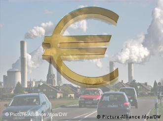 Montage of euro symbol with cars and factories in background