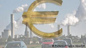 Euro currency symbol imposed on smokestack industries in background