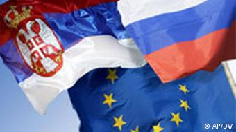 The flags of Serbia, the EU and Russia