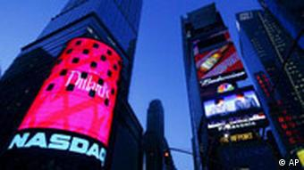 The Nasdaq MarketSite shown in New York's Times Square
