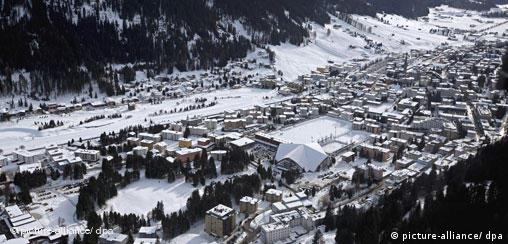 General view of the snow covered town of Davos