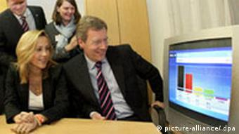christian wulff watching the results on tv
