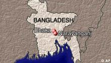 BANGLADESH map with DHAKA and NARAYANGANJ locators, partial graphic