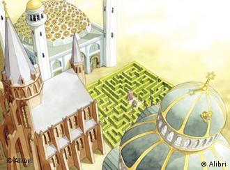 A maze in the shared courtyard of a synagogue, cathedral and mosque as drawn in the book