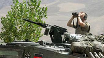 A German soldier at work in northern Afghanistan, in 2006.