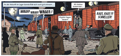 A scene from the Holocaust comic book The Search