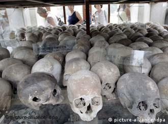 Skulls of victims of the Khmer Rouge on display at a museum