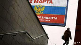 Russland Wahlen Plakat in Moskau