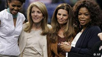 Oprah Winfrey, second from right, Caroline Kennedy, second from left, California's first lady, Maria Shriver, center, Maria Elena Durazo, right, and Michelle Obama, wife of Democratic presidential hopeful, Sen. Barack Obama, D-Ill., stand during a campaign rally.