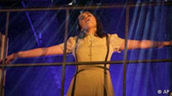 Cuban actress Isabella Castillo performs during a media rehearsal of the musical Anne Frank: a Song to Life in Madrid, on Monday, Feb. 4, 2008