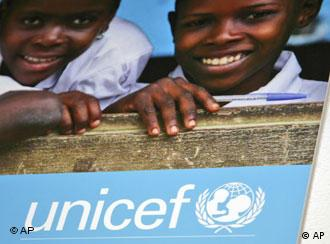 The UNICEF logo is seen in the German headquarter in Cologne, Germany, on Tuesday, Feb. 5, 2008. (AP Photo/Hermann J. Knippertz)