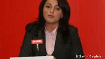 Sevim Dagdelen speaks at a Left party event