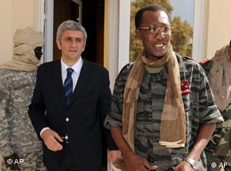 French defense minister Herve Morin with Chad president Deby
