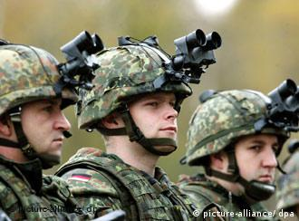 German soldiers with night-vision goggles