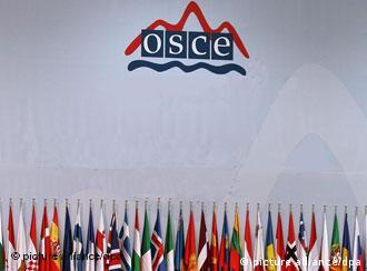 Flaggen der Mitgliesstaaten vor dem Emblem der OSZE (Foto: dpa)