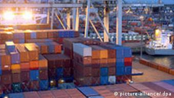 German exports prepare to leave Hamburg. Germany has large trade imbanaces with its fellow EU members.