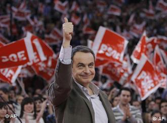 Spain's Prime Minister Jose Luis Rodriguez Zapatero at a pre-electoral party rally in Madrid