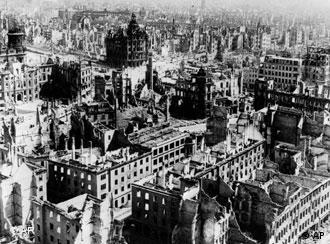 The demolished city of Dresden after the fatal allied forces' air raids on February 13 and 14, 1945