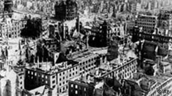 An image of the city of Dresden in ruins after the notorious Allied air raid of 1945.