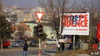 A street in Pristina with a sign that reads Independence