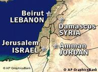 Karte von  Israel, Jordanien, Syrien und dem Libanon (Grafik: AP)