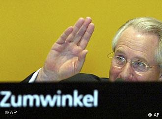 ** FILE ** CEO of the German Deutsche Post AG Klaus Zumwinkel gestures prior to the annual shareholders' meeting in Cologne, western Germany, May 18, 2005. The chief executive of Deutsche Post AG has offered to resign in the wake of allegations that he evaded some 1 million (US$1.45 million) in taxes through investments in Liechtenstein, the Finance Ministry said Friday, Feb. 15, 2008. (AP Photo/Frank Augstein)