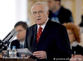 Czech President Vaclav Klaus speaks during the meeting of both houses of Czech Republic Parliament on 15 February 2008