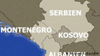 Karte von Kosovo Serbien Albanien und Montenegro