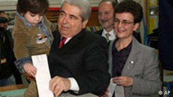 Demetris Christofias, 61, head of the reformed communist AKEL party casts his ballot