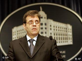 Serbian Prime Minister Vojislav Kostunica speaking at a press conference in Belgrade, Serbia.