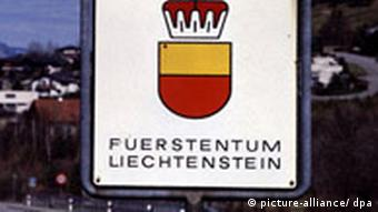 Sign with symbol for the principality of Liechtenstein