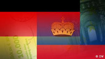German and Liechtenstein flags merged over money