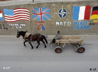 A Kosovar man drives a horse cart past graffiti drawn on a wall in eastern Kosovo town of Gnjilane on Tuesday, Feb. 19, 2008.