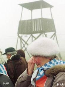 Nazi death camp survivor Anna Stachowiak crying during the 56th anniversary of the camp's liberation