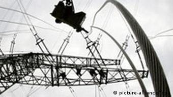 Workers repairing a high-voltage line in Krefeld, Northrhine-Westphalia