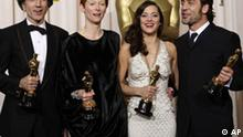 From left, British actor Daniel Day-Lewis poses with the Oscar for best actor for his work in There Will Be Blood, British actress Tilda Swinton poses with the Oscar for best supporting actress for her work in Michael Clayton, French actress Marion Cotillard poses with the Oscar for best actress for her work in La Vie en Rose, and Spanish actor Javier Bardem poses with the Oscar for best supporting actor for his work in No Country for Old Men at the 80th Academy Awards Sunday, Feb. 24, 2008, in Los Angeles.(AP Photo/Kevork Djansezian)