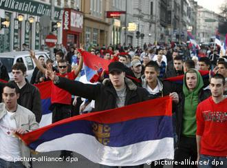 Serbs on the streets of Vienna protesting against Kosovo's independence