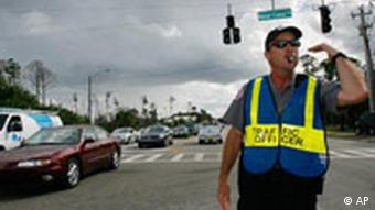 A policeman in Flordia directs traffic